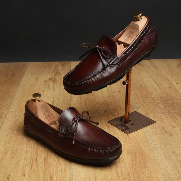 Brown Leather Bow Loafers by BRUNE