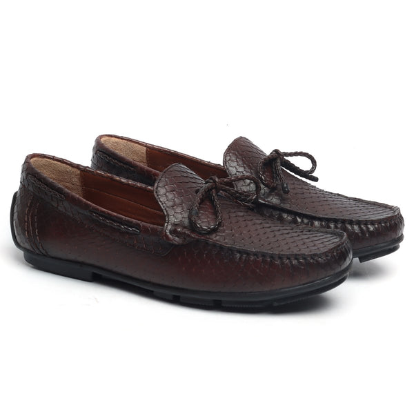Brown Snake Scales Textured Leather Weaved Tassel Bow Loafers by BRUNE