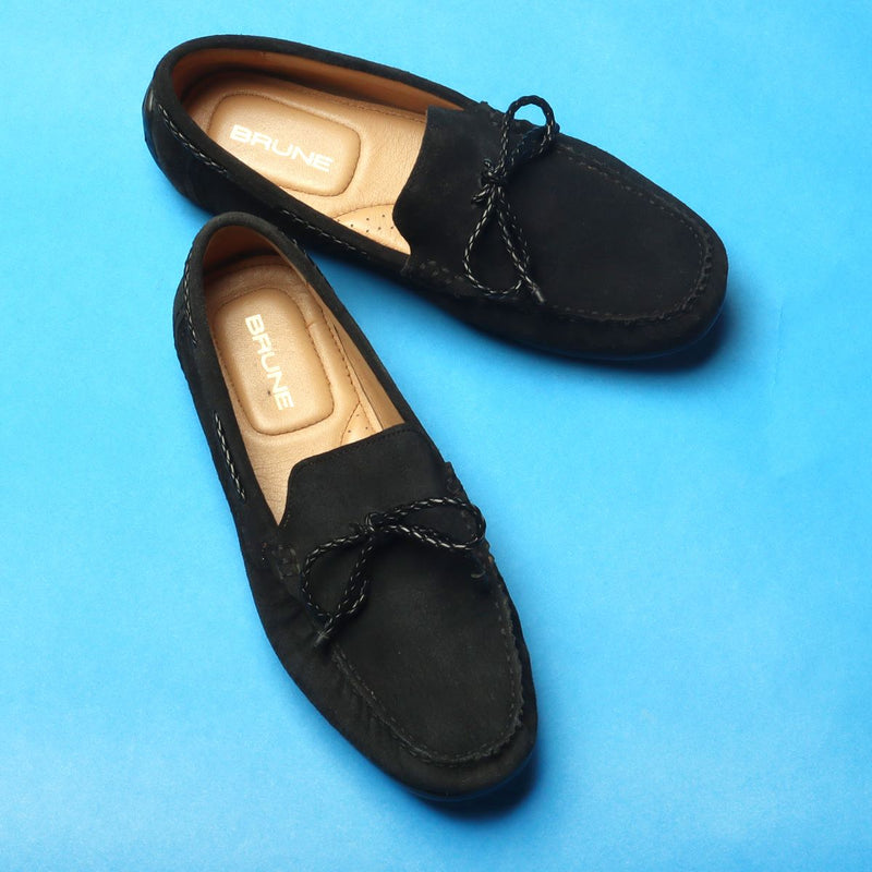 Black Suede Leather Weaved Tassel Bow Loafers by BRUNE