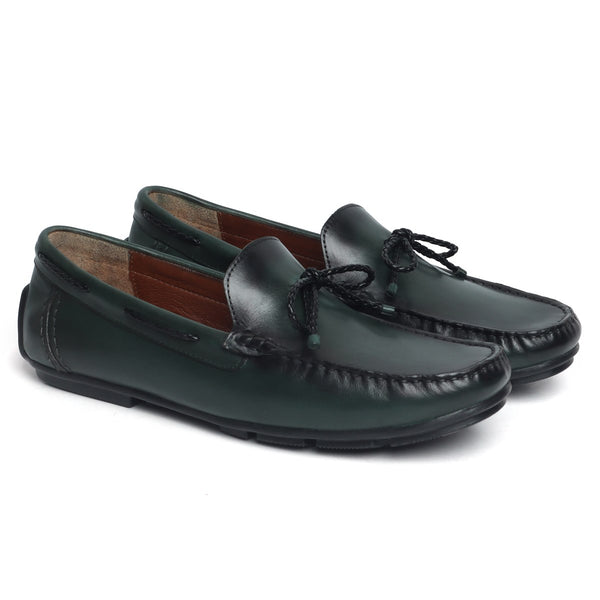 Green Leather Bow Loafers by BRUNE