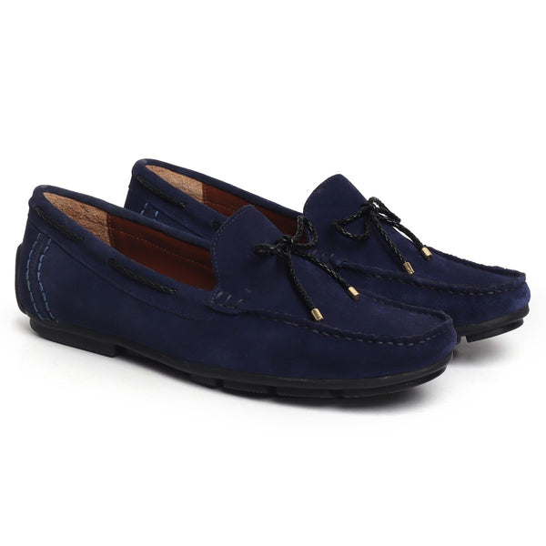 Blue Suede Leather Weaved Tassel Bow Loafers by Brune & Bareskin
