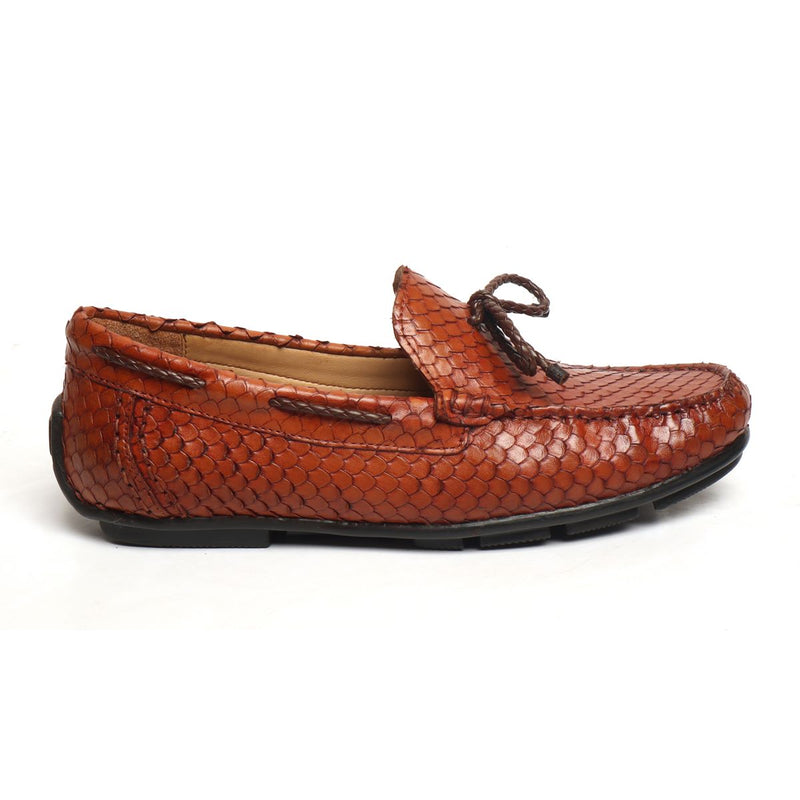 Tan Snake Scales Textured Leather Weaved Tassel Bow Loafers by BRUNE