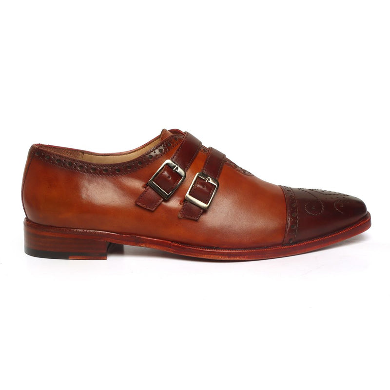 Tan-Brown Contrasting Cap Toe Leather Parallel Double Monk Straps Shoes by BRUNE