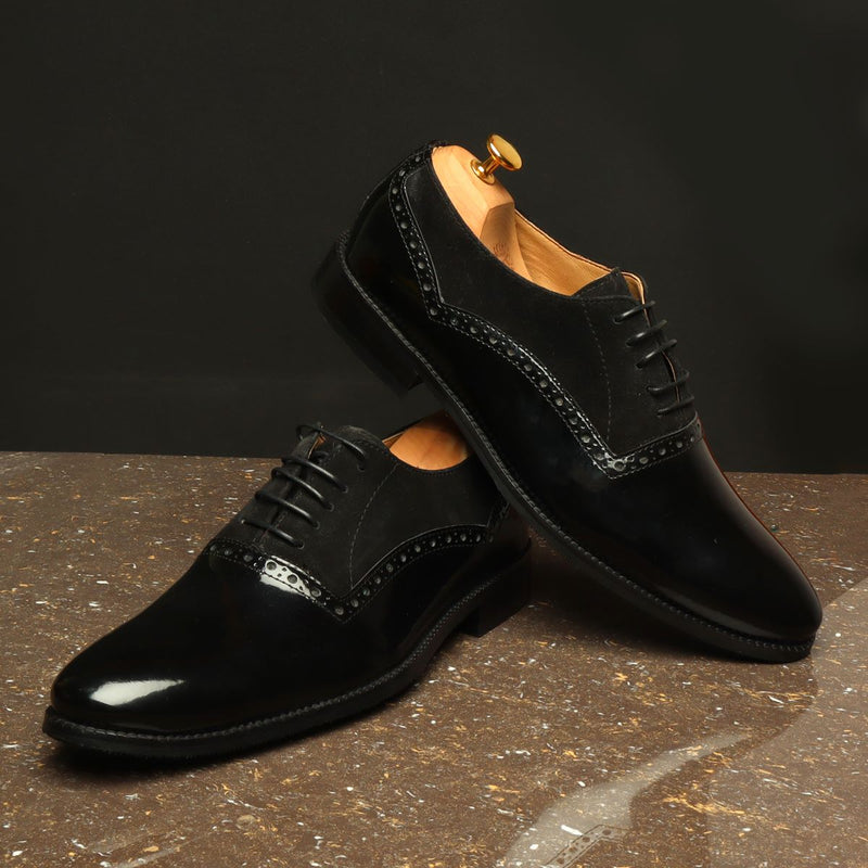 Black Suede-Patent Leather Quarter Brogue Oxford Shoe By Brune