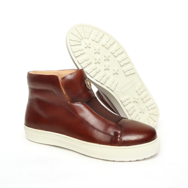 Brown Leather Mid-Top Sneakers with Stretchable Strap by Brune & Bareskin