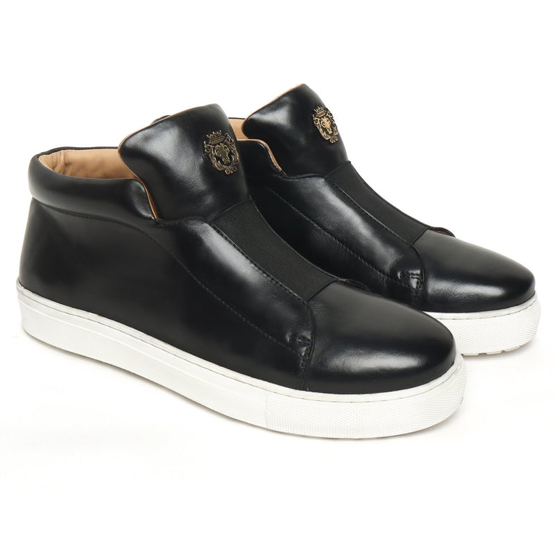 Black Leather Mid-Top Sneakers with Stretchable Strap by Brune & Bareskin
