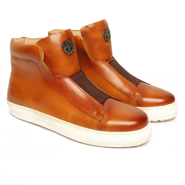 Tan Leather Mid-Top Sneakers with Stretchable Strap by Brune & Bareskin