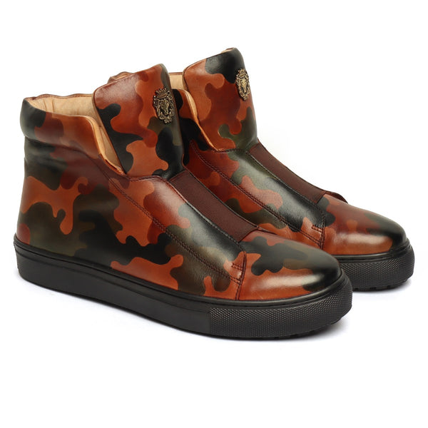 Camo Hand Painted Leather Mid-Top Sneakers with Stretchable Strap by Brune & Bareskin