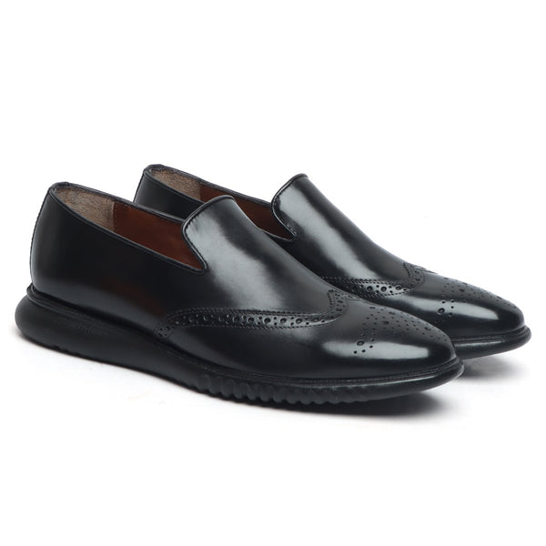 Black Burnished Leather Wingtip Light Weight Loafers By Brune & Bareskin