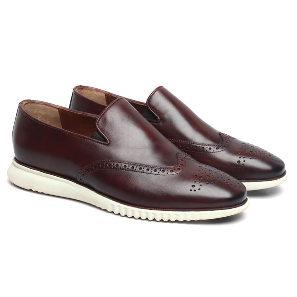 Brown Burnished Leather Wingtip Light Weight Loafers By Brune & Bareskin