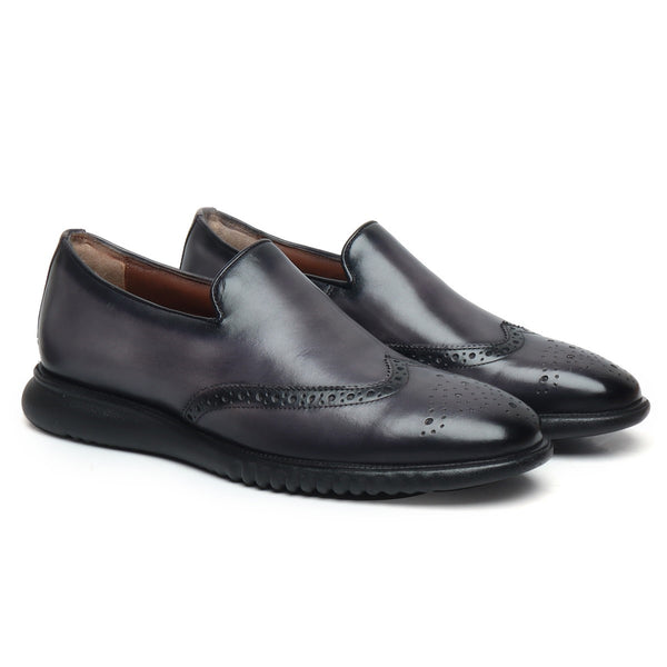 Grey Burnished Leather Wingtip Light Weight Loafers By Brune & Bareskin