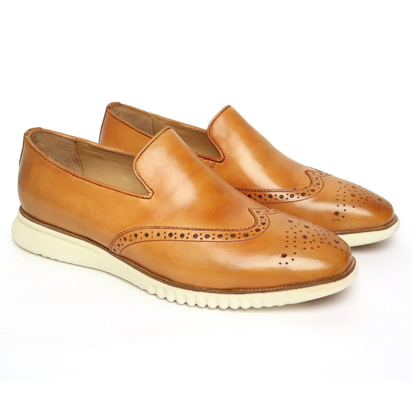 Yellow Tan Burnished Leather Wingtip Light Weight Loafers By Brune & Bareskin