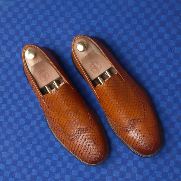 Tan Snake Skin Textured Burnished Leather Wingtip Light Weight Loafers By Brune & Bareskin