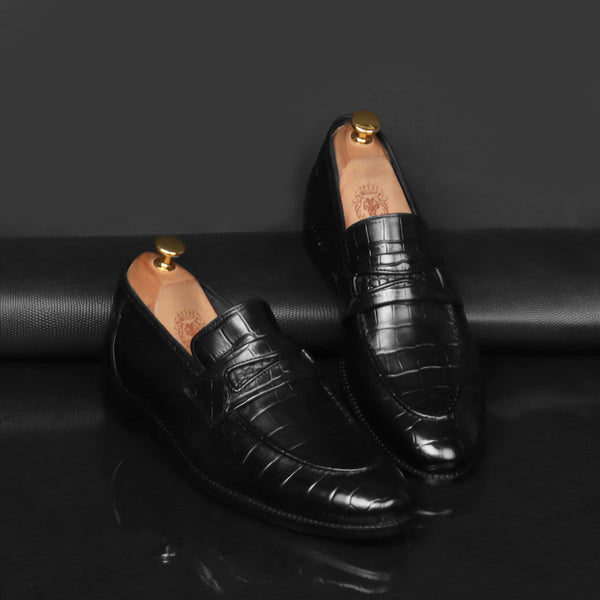 Black Deep Cut Croco Penny Loafers by Brune & Bareskin