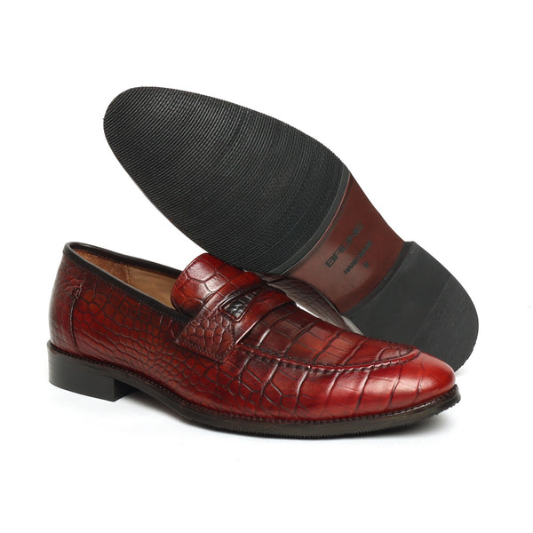 Wine Croco Print Leather Mod Look Loafers by Brune