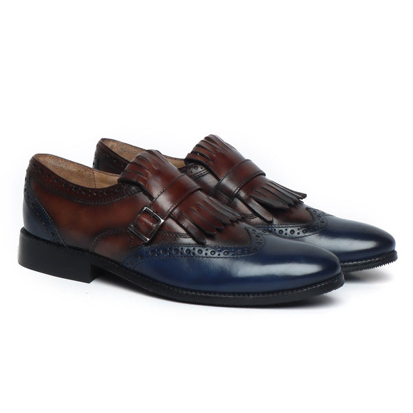Brown/Blue Leather Fringed Single Monk Strap Shoes By Brune