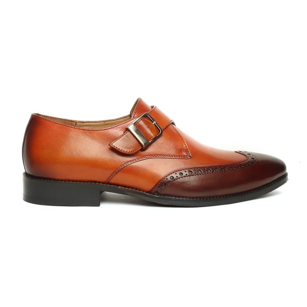 Tan-Brown Dual Shade Leather Derby Monk Strap Wingtip Shoes by BRUNE