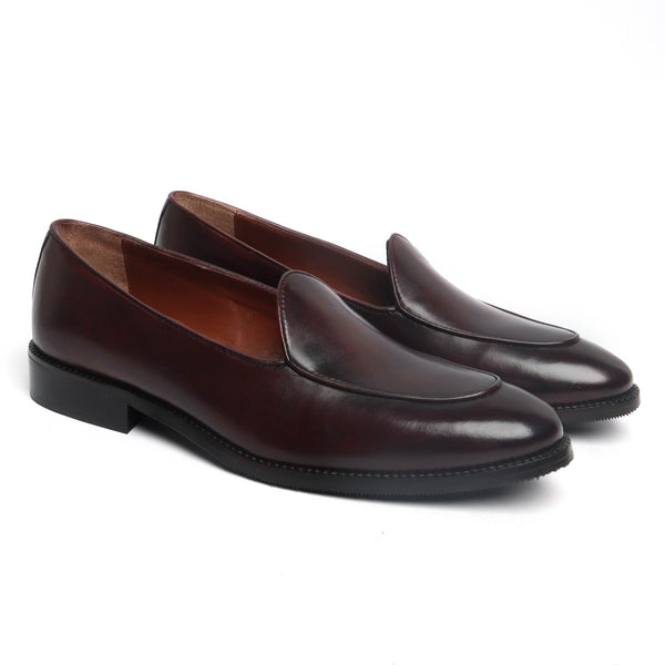 Brown Leather Apron Toe New Mod Look Loafers by BRUNE