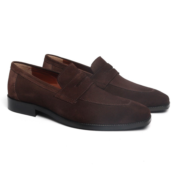 Brown Suede Leather Sleek Look Squared Apron Toe Formal Slip-On by BRUNE