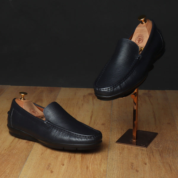 Blue Leather Light Weight Super Flexible Loafers by Brune & Bareskin