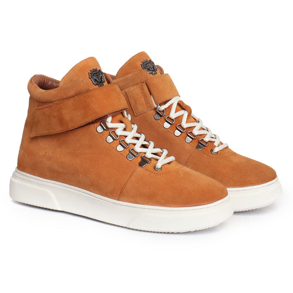 TAN SUEDE LEATHER HIGH-ANKLE WHITE SOLE LACE-UP SNEAKERS BY BARESKIN