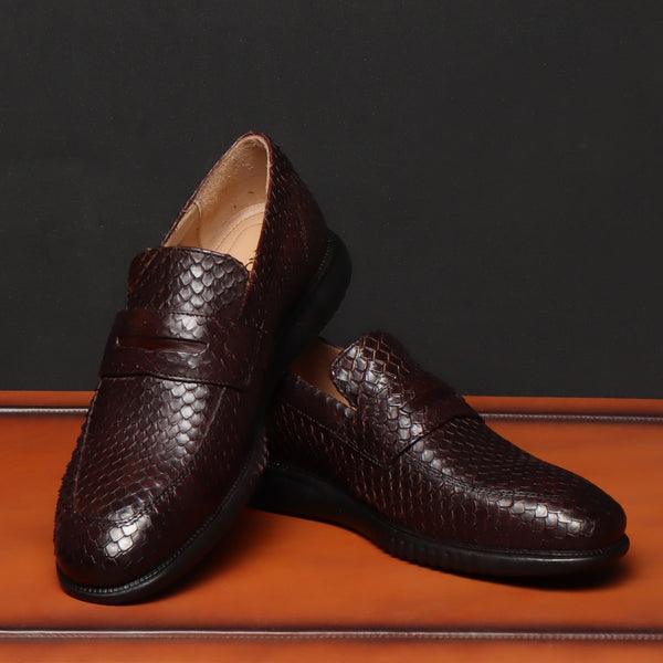 Brown Snake Print Leather Light Weight Super Flexible Loafers by Brune & Bareskin