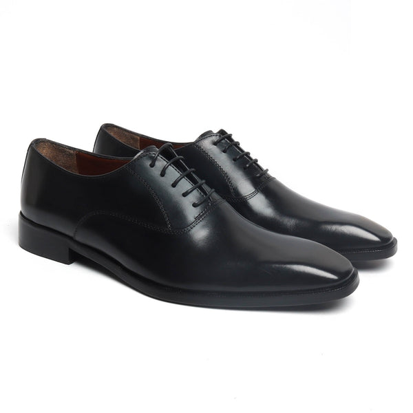 Classically Designed Sleek Look Black Leather Oxfords by Brune