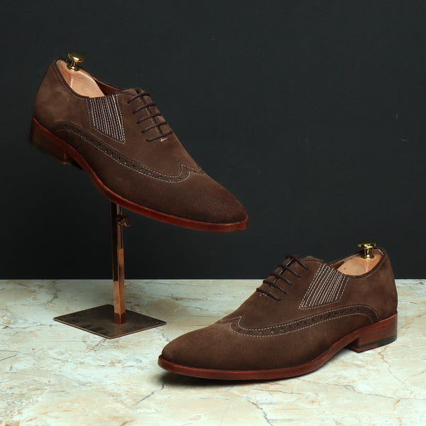 Brown Suede Leather Wingtip Side Elastic Oxford with Leather Sole by BRUNE
