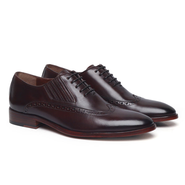 Brown Wingtip Side Elastic Oxford with Leather Sole by BRUNE