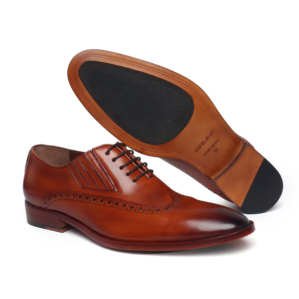 Tan Wingtip Side Elastic Oxford with Leather Sole by BRUNE