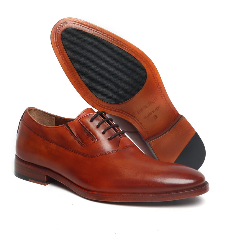 Tan Leather Side Elastic Oxford with Leather Sole by BRUNE