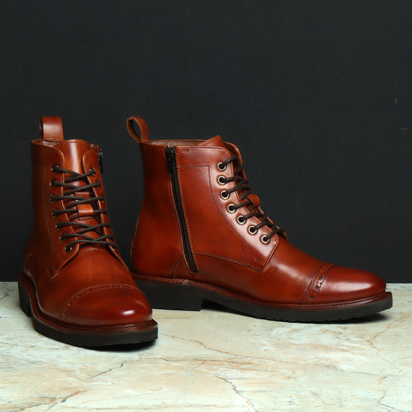 Cognac Leather Brogue Cap Toe Light Weight Boots by Brune & Bareskin