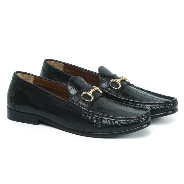 BLACK CROCO TEXTURED DEEP CUT LEATHER HORSEBIT LOAFERS BY BRUNE