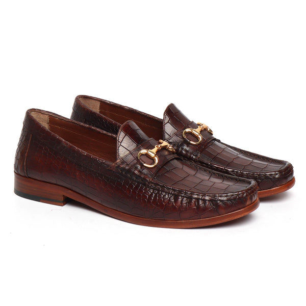 Brown Croco Textured Deep Cut Leather Horsebit Loafers by BRUNE