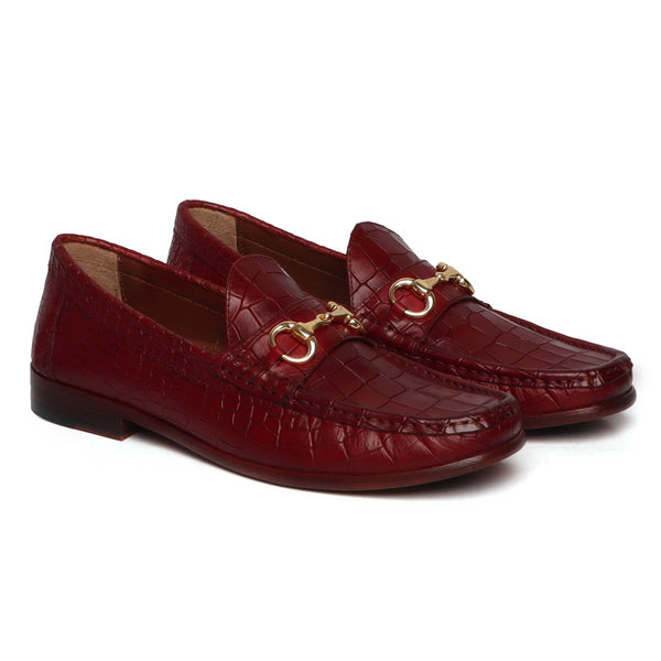 WINE CROCO TEXTURED DEEP CUT LEATHER HORSEBIT LOAFERS BY BRUNE