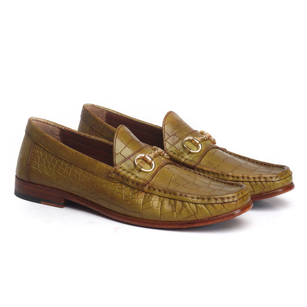 Olive Croco Textured Deep Cut Leather Horsebit Loafers by BRUNE