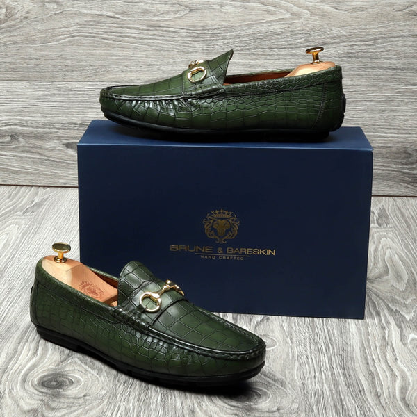Green Croco Textured Deep Cut Leather Horsebit Loafers by BRUNE