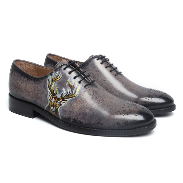 Hand Painted Dear Head Cloudy Grey - Black Leather Oxfords by Brune & Bareskin