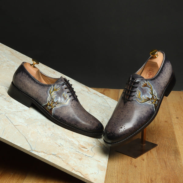 Hand Painted Deer Head Cloudy Grey - Black Leather Oxfords by Brune & Bareskin