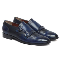Blue/Black Leather Fringes Double Monk Strap Shoes By Brune