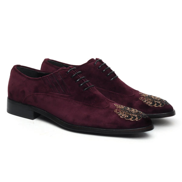 Zardosi Wingtip Purple Velvet Formal Shoes by BRUNE