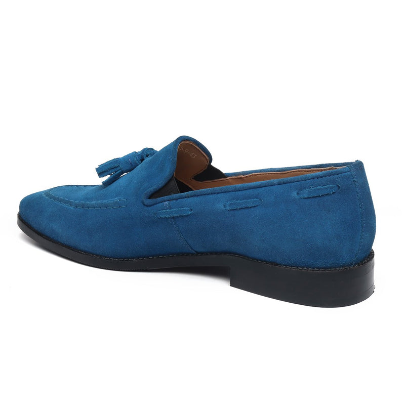 Sea Accent Tassel Suede Leather Loafers By Bareskin