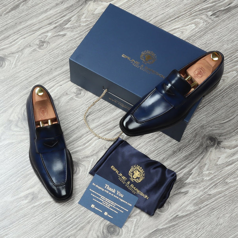 Blue Leather Penny Loafers with Triangular Cut-Strap By BRUNE & BARESKIN