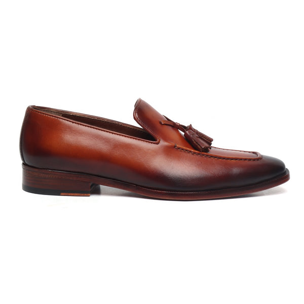 Cognac Leather Crossed Tassel Shoe by BRUNE & BARESKIN