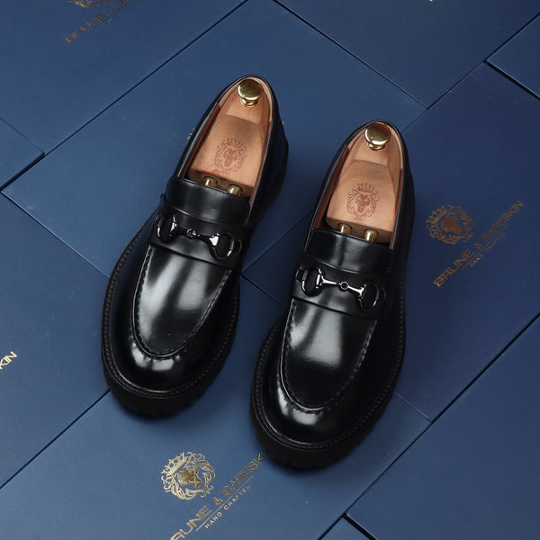 Black Leather Lug Sole Horsebit Formal Shoes by Brune & Bareskin
