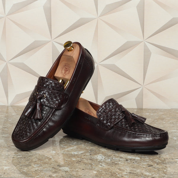 Dark Brown Weaved Vamp & Tassel Leather Loafers Shoe by Brune & Bareskin