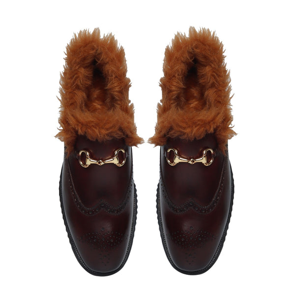 Brown Leather Inside Furr Wingtip Light Weight Horsebit Loafers by Brune & Bareskin