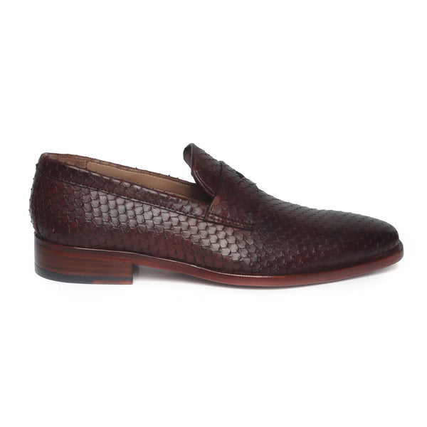 Brown Snake Print Leather Loafers By BRUNE