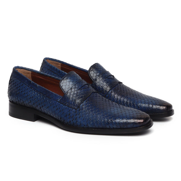Blue Snake Print Leather Loafers By BRUNE