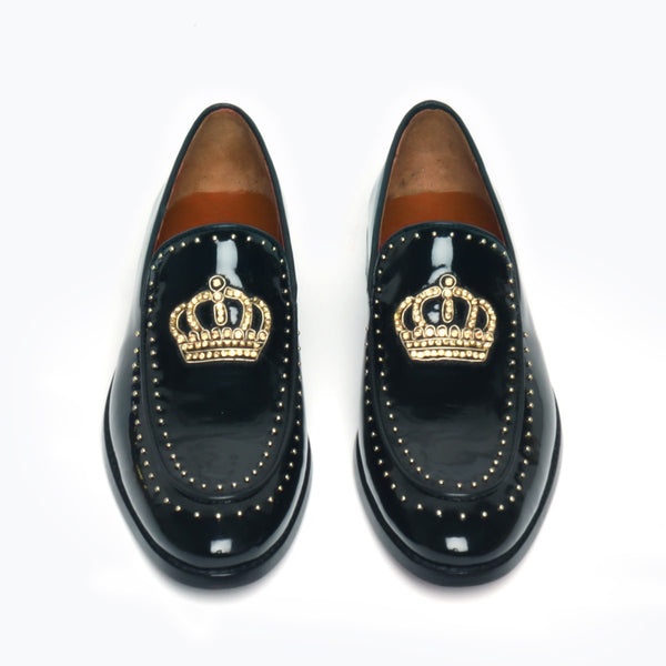 Black Patent Crown Zardosi With Studded Apron Leather Loafers By Bareskin